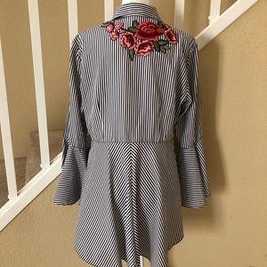 Mishca black/white striped button down shirt